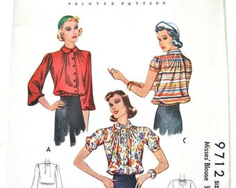 ON SALE Uncut Vintage 1930s Sewing Pattern Misses'  Blouse  by McCall 9712  Bust  32