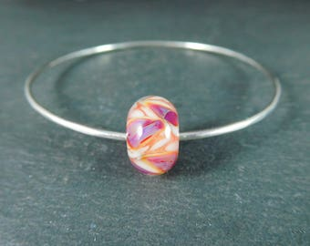 Silver Bangle Bracelet, Purple White Peach Glass Bracelet, Simple Sterling Silver Bracelet, Stacking Lampwork Bracelet, Minimalist Jewelry