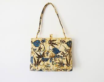 1950s/1960s Yellow and Blue Batik Handbag