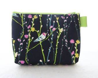 Bird on Vine Fabric Gadget Pouch Cosmetic Bag Zipper Pouch Makeup Bag Cotton Zip Pouch Art Gallery Petal Plume Navy Blue Lime Pink MTO