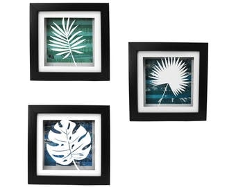 TROPICAL leaves shadowbox SET of 3- made from recycled magazines, modern, silhouette, small,colorful,recycled, upcycled,design,beach,coastal