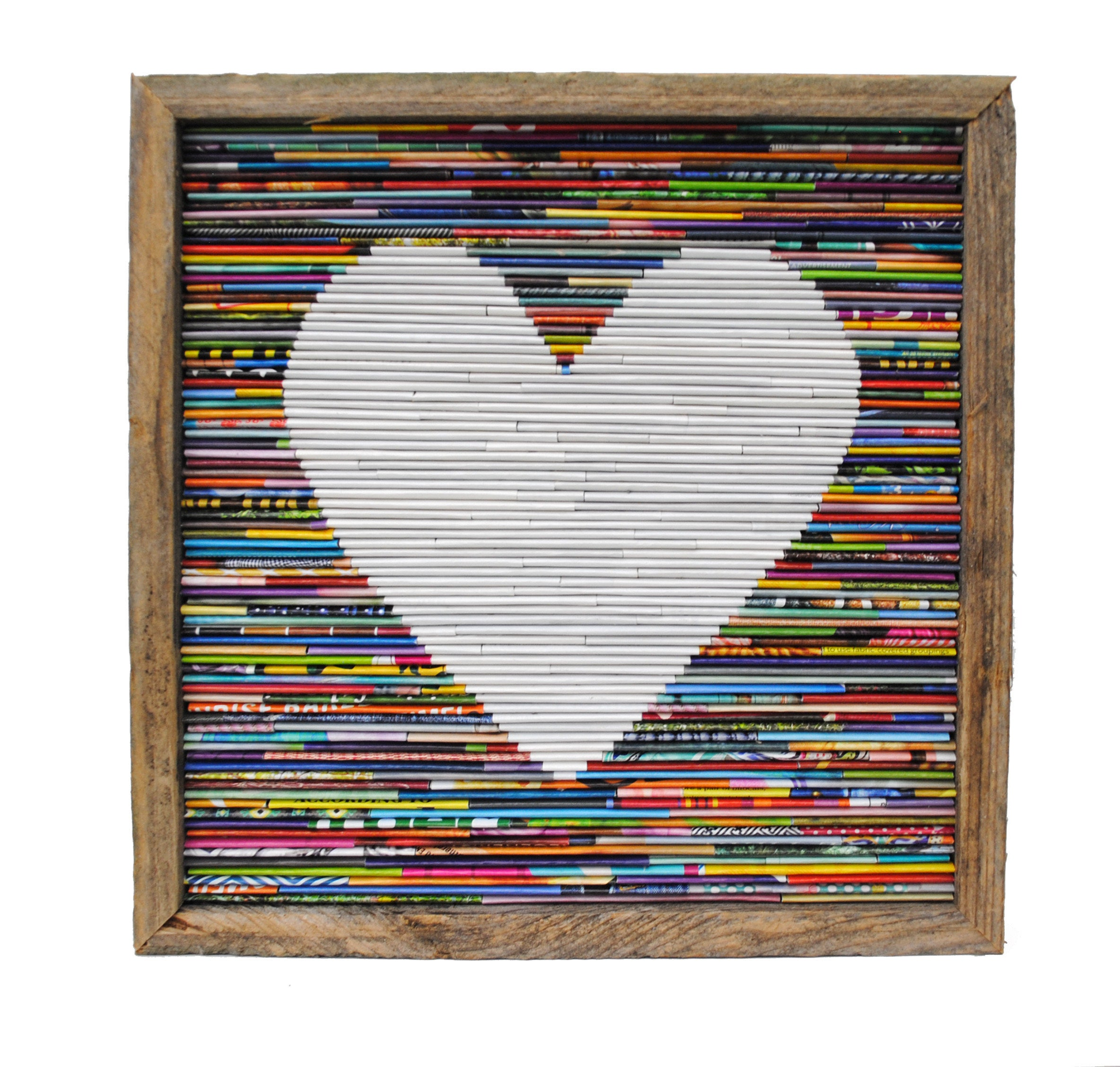 LARGE rustic heart framed art- made from recycled magazines, modern ...