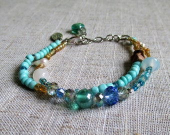 Shoreline Beaded Bracelet Handmade Bohemian Gypsy Multi Layer Style