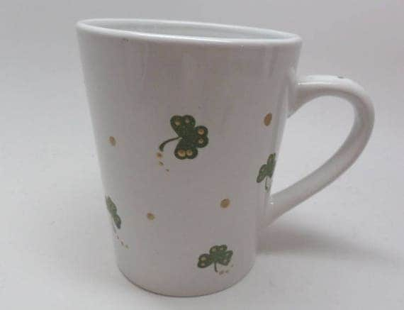Hand Painted Ceramic Coffee mug for St. Patrick's Day.  Green Clovers and golden dots.  Great Gift