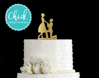 Bride and Groom Couple Engagement Wedding Cake Topper, Marriage Proposal Cake Topper Hand Painted in Metallic Paint with Couple Kissing