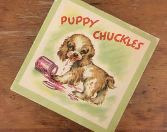 Vintage Stationary Box, Puppy Chuckles, Cardboard Box, Midcentury Illustration