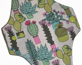 Moderate Core- Succulents Reusable Cloth Maxi Pad- WindPro Fleece- 10 Inches (25.5 cm)