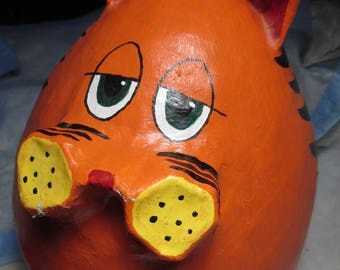 Large Paper Mache Orange Cat Garfield FAT CAT Kitty BANK signed number 1A 3.2.98 R.V.M.