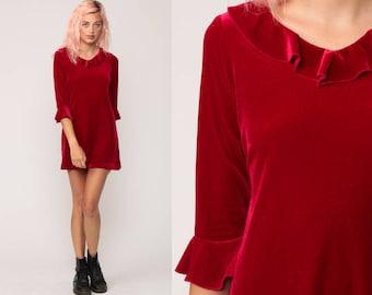Red Velvet Dress Velvet Mini 90s Party RUFFLE Grunge 3/4 Sleeve 1990s Cocktail Vintage Sheath Minidress Small Medium