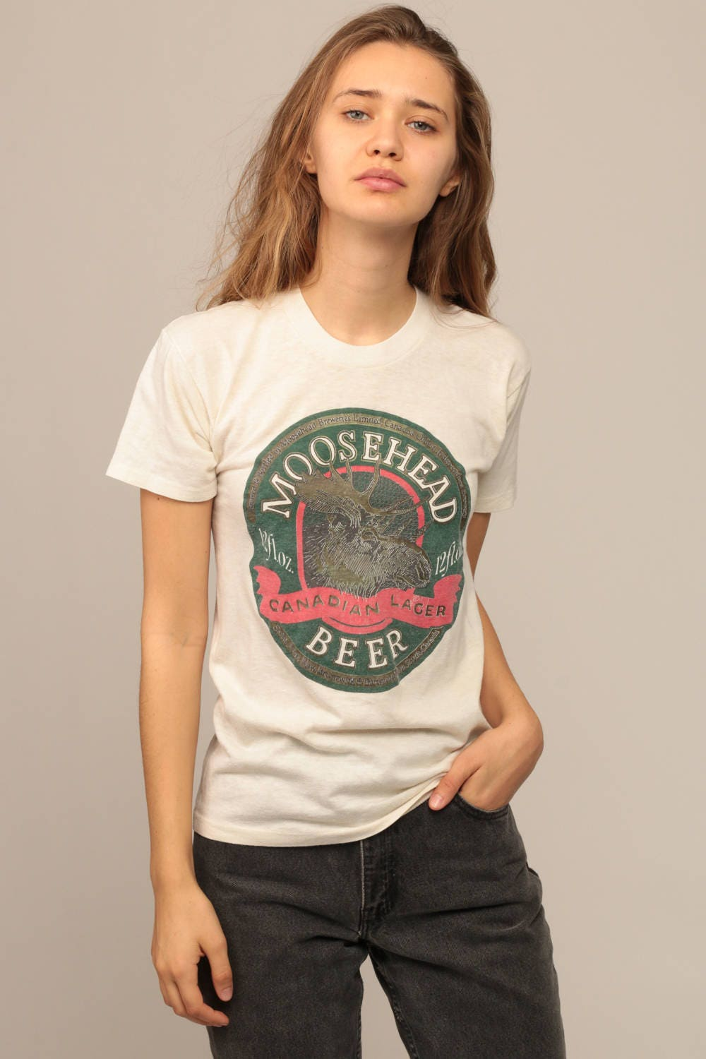 Beer shirt moosehead beer tee new orleans shirt paper thin t for T shirt printing new orleans