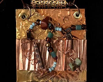 Layered and wire-wrapped Copper Necklace with Turquoise accent Beads
