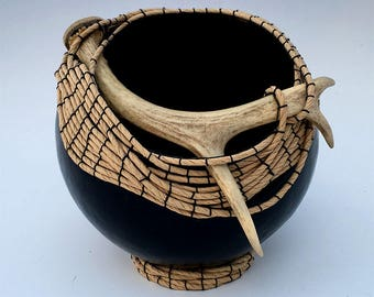 Black Gourd Bowl with Antler - Item 819 by Susan Ashley
