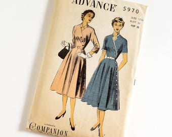 HTF Vintage 1950s Womens Size 12.5 Day Dress Advance Sewing Pattern 5970 Complete / b32 w27 / Sleeve Length Options Belted Button Accents