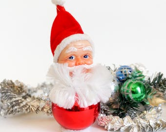 "Vintage 1960s Christmas Mercury Glass Santa Ornament 7"", Painted Plastic Face Faux Fur Beard Red White Tree Decoration"