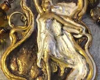 FREYA/FREYJA VIKING Goddess/Rosary/Altar Set/Necklace of Fire/Yellow Quartz/Filigree/Brass/Magic Script on Metal/Scrying Mirror/