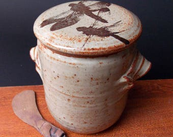 Large Stoneware French Butter Crock With Clay Paddle ~ Dragonfly Design ~ Holds 2 Sticks