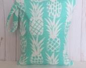 Turquoise Wet Bag, Pineapple Wet Bag, Waterproof Bag, WetBag, Swimsuit Bag, Cloth Diaper Bag