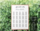 Your Seat Awaits Wedding Seating Chart – Printable Seating Chart – Seating Chart Wedding – Seating Chart Poster – Editable PDF – #b101