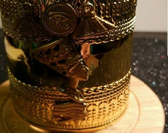 Gold Tone Queen Nefertiti Cuff Bracelet