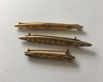 3 Victorian Gold & Seed Pearl Bar Pins
