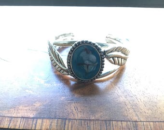 Vintage Native American Style Cuff Bracelet Turquoise Enamel