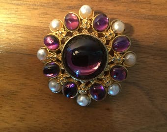 Vintage Amethyst Cabochon and Pearl Brooch Numbered
