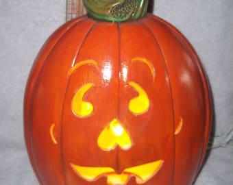 Cute Hand Carved Light Up Pumpkin Jack O Lantern Halloween Decoration Made of Ceramic Pumpkins