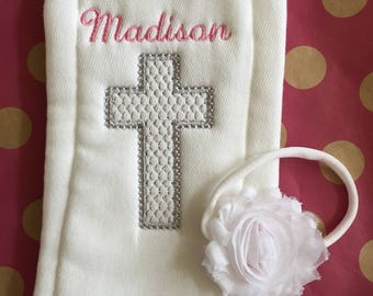 Baby Girl Baptism Burp Cloth & Headband