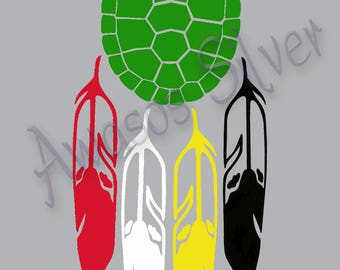 Turtle shell with 4 feathers decal. Green turtle shell with feathers in the 4 directions colors, red, white, yellow and black. Vinyl decal.