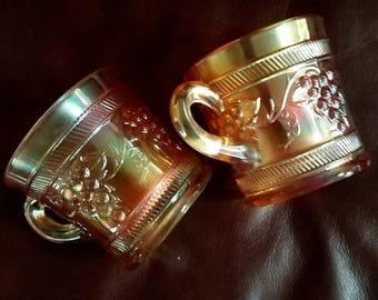 Vintage Carnival Glass Mug Grape Vintage Banded Dugan Diagonal Band Marigold 1920s Set of Two