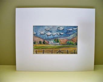 Landscape Drawing Original Artwork White Barn Park City Utah Artist