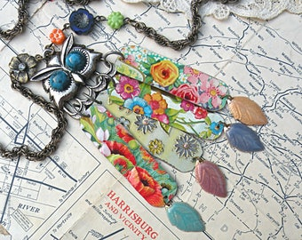 summer gypsy owl necklace assemblage upcycle tin repurposed recycled jewelry cottage chic rustic