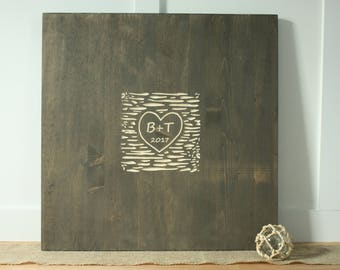 24x24 Wedding Guestbook with Carved Initials and Date Carved Rustic Wooden Wedding Sign