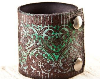 Leather Cuff, Leather Jewelry, Bohemian Jewelry, Women's Bracelet Wristband