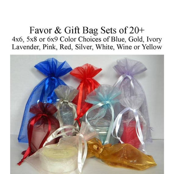 Organza 4x6 navy wedding favor gift bags