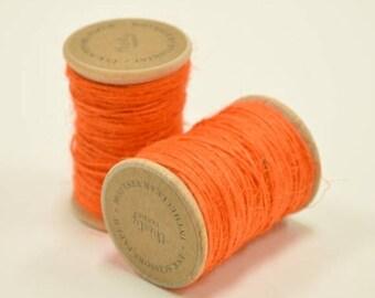 25% Off Summer Sale Burlap Twine - 30 Yards on Wooden Spool - Bright Orange Color Jute