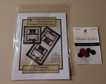 Through The Year-January Quilt Pattern With Hillcreek Buttons Included and Free Shipping