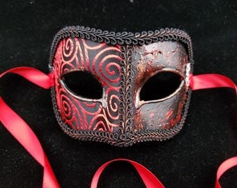 Fire and Blood Male Mask, Game of Thrones Inspired Black/Red Brodcade Covered Mask with 3D Swirls and Targaryen Dragon Emblem