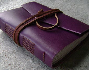 """Vintage style leather journal, 4"""" x 6"""", travel journal, leather sketchbook (2607)"""