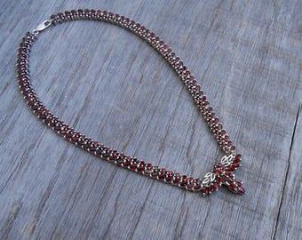 Unique sterling silver 101  genuine garnet gemstones necklace choker  / silver 925 / Bali jewelry / 15 inch long