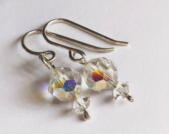 Vintage cut glass crystal drop earrings