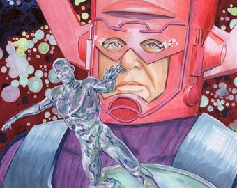 SIlver Surfer and Galactus Jack Kirby 100th Birthday Print