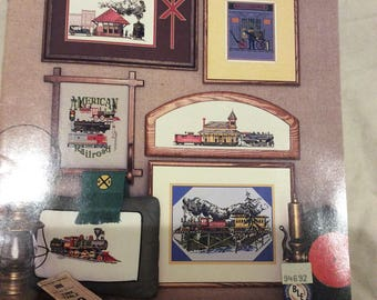 Vintage The American Railroad Highballin Trains Embroidery Booklet 1987 Puckerbrush Inc
