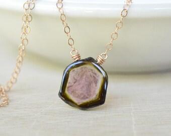 Watermelon Tourmaline Necklace, October Birthstone Watermelon Slice, Gold Filled, Rough Gemstone Dainty Jewelry, Green Pink Pendant