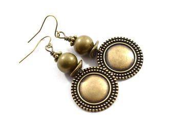 RESERVED.....Simple Brass Earrings, Brass Earrings, Wire Earrings, Boho Chic Earrings, Artisan Earrings, Antique Brass Earrings,  AE234