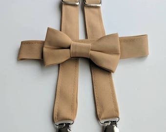 Tan Bowtie and Suspenders. Infant, Toddler, Boy. 2 weeks before shipment.