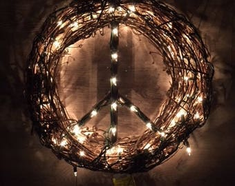Lighted Peace Sign Wreath, Lighted Peace Sign, Fall Wreath, Peace Sign Wreath, Peace Sign, Grape Vine Wreath, Peace Wreath, Grapevine wreath