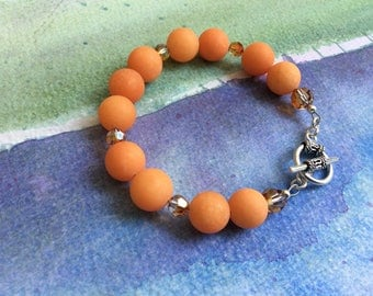 FREE SHIPPING Orange Coral Stone Bracelet Bali Sterling Silver Toggle Clasp
