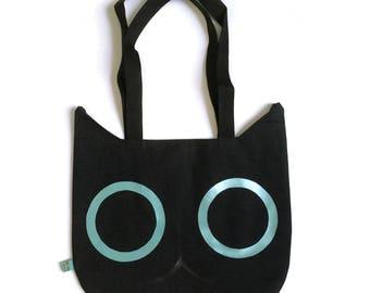 Cat Head Tote Bag - Black with Teal Eyes