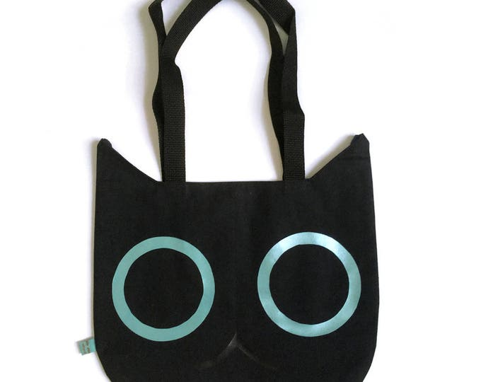 Featured listing image: Cat Head Tote Bag - Black with Teal Eyes